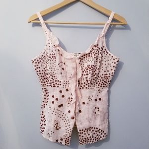 Free People Light Pink Foral Linen Tank 2